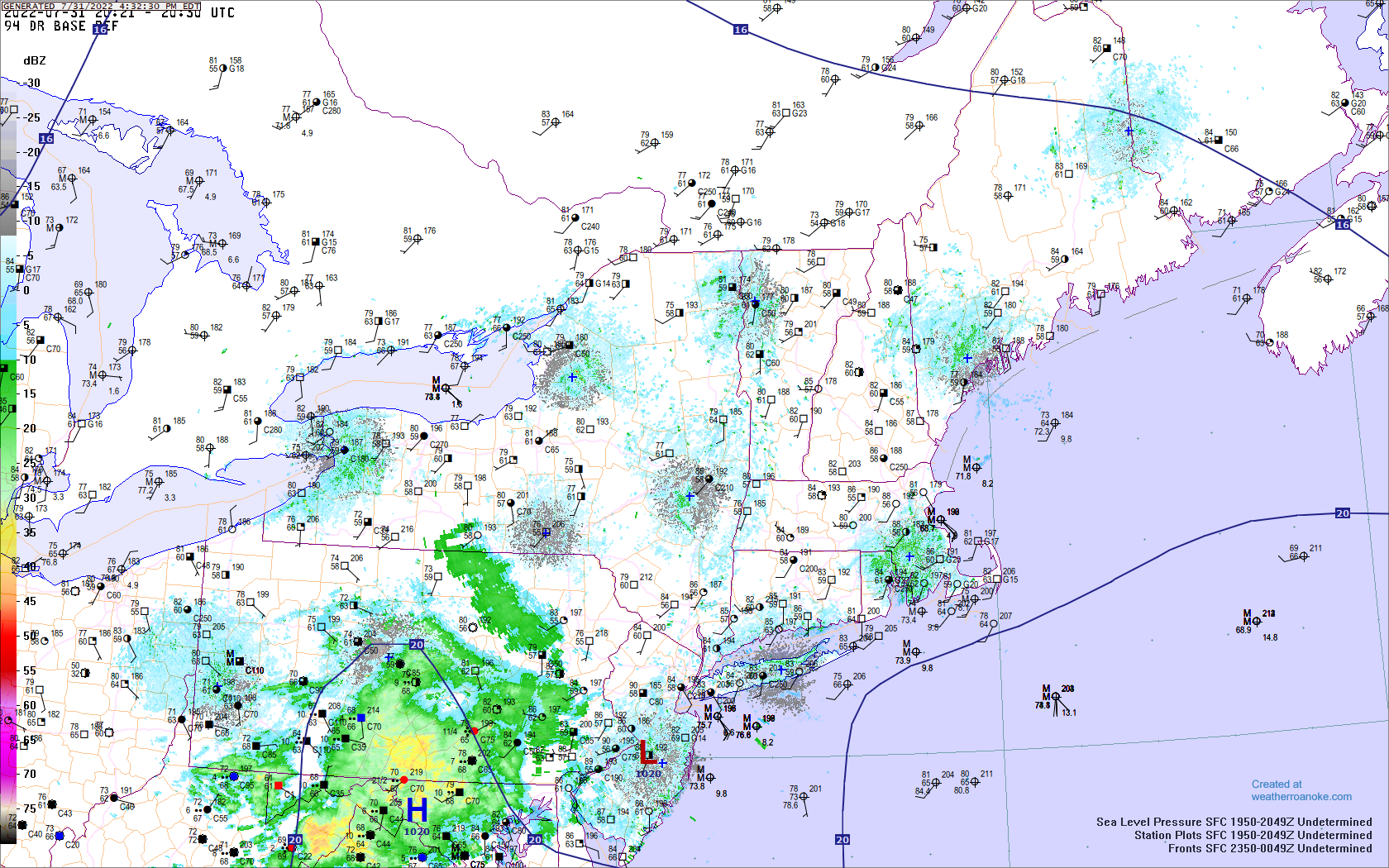 New England surface map